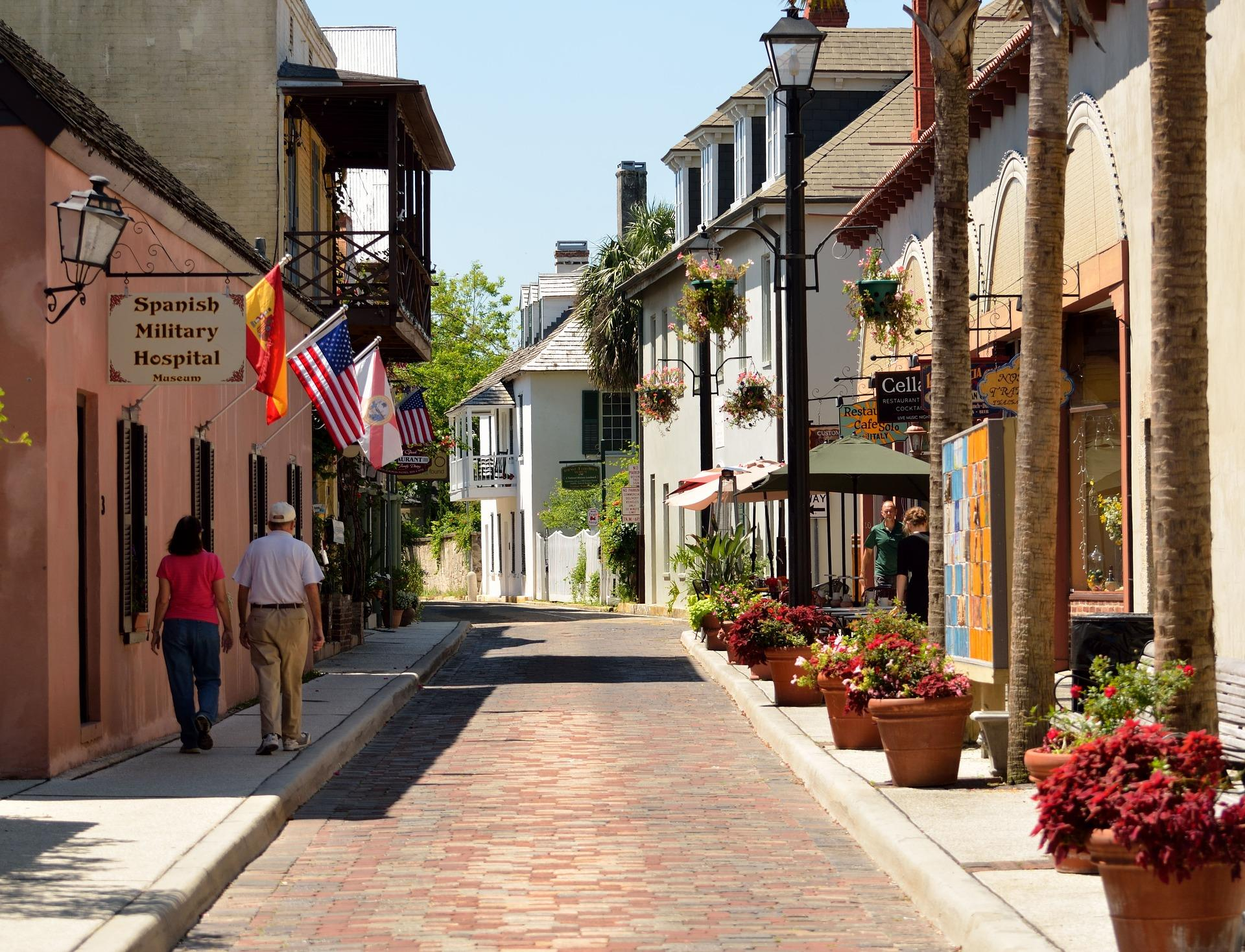 People Walking on Aviles Street in St. Augustine